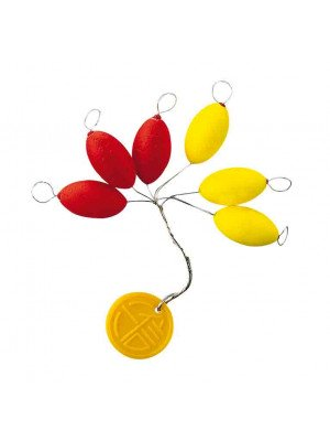 Cormoran Easy Use Floater, oval, yellow/red, 20x9mm, 4 pcs, line stopper