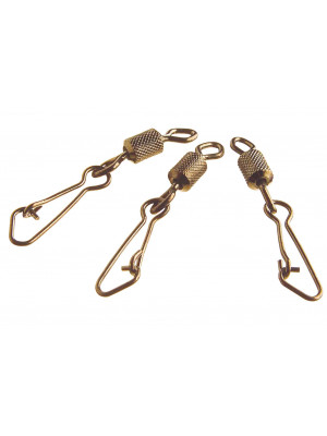 Cormoran Hooked Snap Swivel, Carabiner with swivel, Sz. 14, 22kg, 8 pcs, burnished