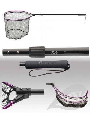 Daiwa Prorex Folding Boat landing net, telescopic, Net with silicone coating